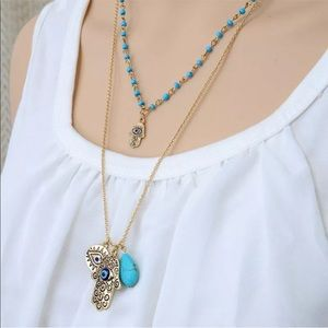 Jewelry - Double Layer Gold & Turquoise Necklace Hamsa